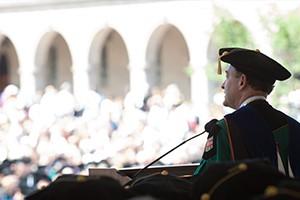 Chancellor Wrighton addressing graduates