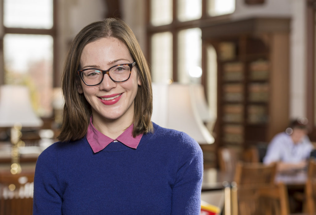 Kate Falconer, an LLM student from Brisbane, Australia, will return to her home to pursue a doctorate in indigenous populations. (Photo: Joe Angeles/Washington University)