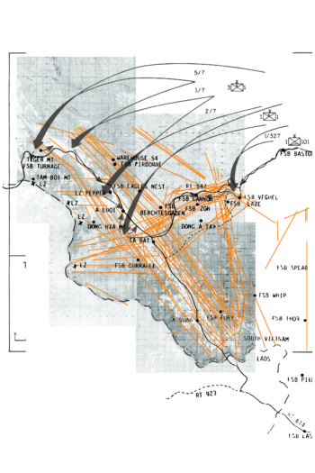 """In 1969, U.S. forces attempted to occupy Vietnam's A Luoi Valley in a ten-day operation known as """"Hamburger Hill."""" In order to inhibit enemy movement in the valley's forested hillsides, the U.S. heavily bombed the area (indicated by arrows) and sprayed Agent Orange (indicated by orange vectors). (Image: Courtesy of Ylan Vo)"""